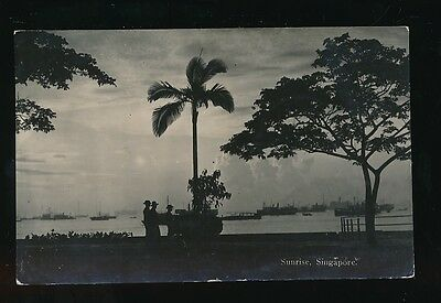 Singapore SUNRISEover Harbour Boats in distance Used 1933 RP PPC
