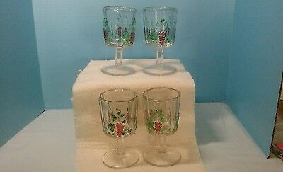 Set Of Westmorland Panneled Grape Goblets Clear W/flashed Purple Grapes