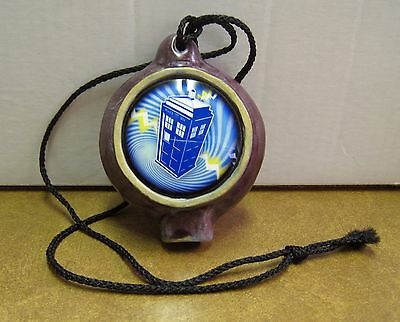 Pottery Ocarina Signed JC With Doctor Who's TARDIS