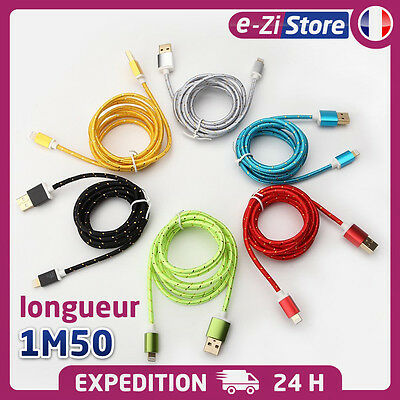 CABLE CHARGEUR USB 1.5m RENFORCÉ IPHONE 7 6 5S IPAD IPOD 8 PIN SYNCRO LIGHTNING
