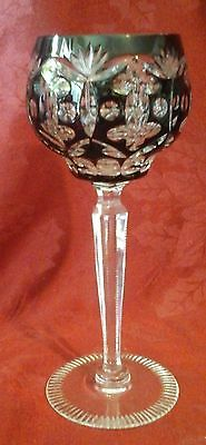 Dark Red Cut to Clear Bohemian Glass Wine Goblet