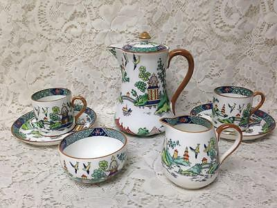 Vintage, Crown Staffordshire, Polychrome, Gaudy Blue Willow 8pc Teas Set for 2