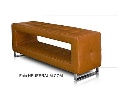 Small leather corridor storage bench very stable real leather tan brown.