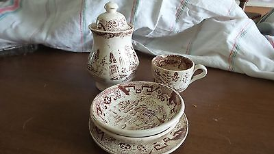Vintage Asian Willow in Brown Transferware 5 Pcs. Childs Dishes