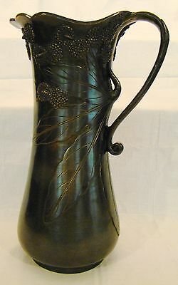 "Excellent Art Nouveau Bronze Vine Leaf & Pod Tall Vase Pitcher 14""h"