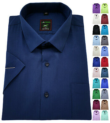 Mens Short Sleeve Plain Shirt Cotton Rich Classic collar Formal Casual Easy Care