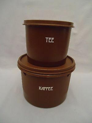 Vintage Tupperware Storage Containers Brown KAFFEE TEE w/lids 263 250 Stackable