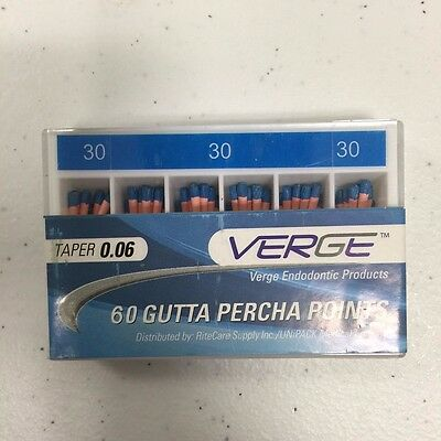 Gutta Percha Points (Qty 60) - # 30, 0.06 Taper - Verge Endo Dental Kit