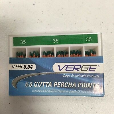 Gutta Percha Points (Qty 60) - # 35, 0.04 Taper - Verge Endo Dental Kit