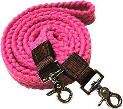 Showman PINK Flat Cotton Roping Reins with Scissor Snap Ends! New Horse Tack!