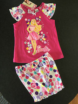 BNWT Girls Sz 4 Cute Pink & Hearts Barbie Short Summer Style Stretch PJ Pyjamas