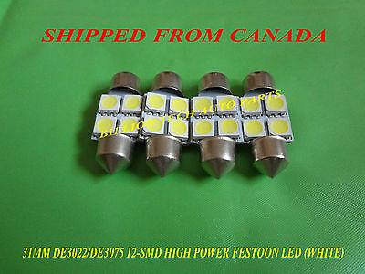 4 Pcs De3022/de3175 31Mm 12 Smd High Power Led Festoon (White)