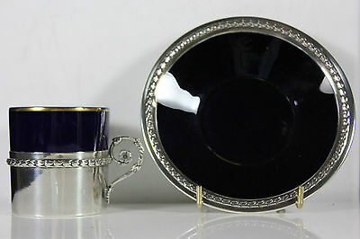 Antique French Sevres Demi Tasse Silver Mount C.1838+ Cup & Saucer
