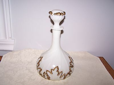 Milk White Glass Swirl Decanter With Matching Stopper And Gold Decoration