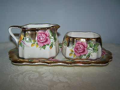 Beautiful 3 Piece Set Sandland Ware Golden Rose Cream And Sugar And Regal Tray