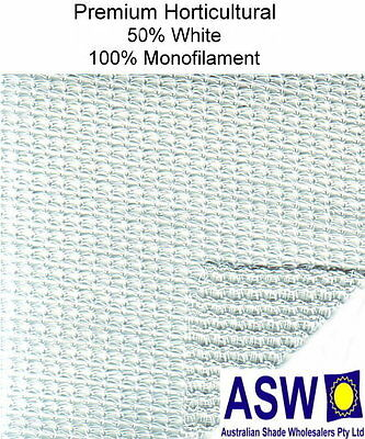 50% UV 3.66m wide WHITE SHADECLOTH Premium Horticultural Commercial Shade Cloth