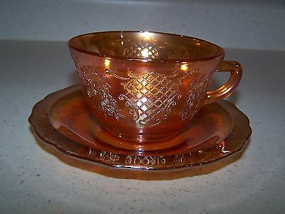 NORMANDIE BOUQUET AND LATTICE IRIDESCENT CUP AND SAUCER - Circa 1933-1940