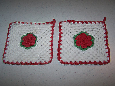 2 Vintage Handmade Crocheted Pot Holders / Hot Pads With Red Raised Flowers