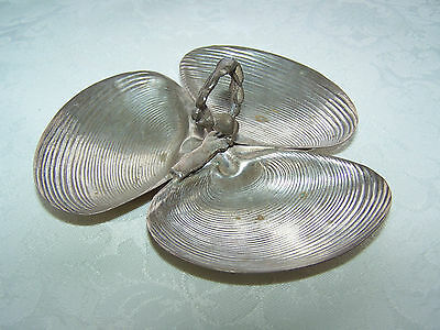 Vintage Silver Oyster / Clam Individual Serving Dish - 3 Section With Handle