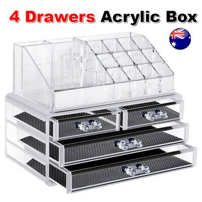 Cosmetic 4 Drawer Clear Acrylic Box Organizer Storage Jewellery Makeup Holder