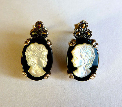 Vintage 925 Sterling Silver Cameo Earrings Onyx Carved Mother of Pearl Marcasite