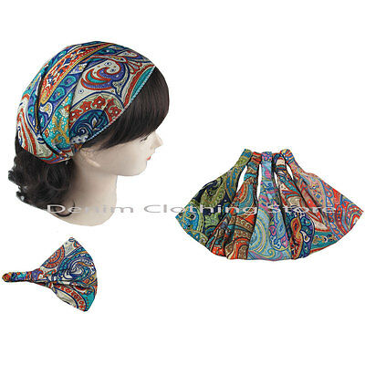 6pc Headwrap Bandana Elastic Back Head Band Turban Workout Yoga Accessorie Lots