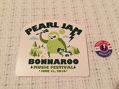 Pearl Jam Bonnaroo Button/Pin & Sticker - Manchester, TN 6-11-16