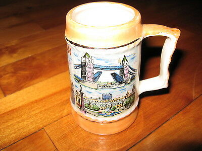 Old Luster Ware Miniature Stein W/scenes Of London, Eng