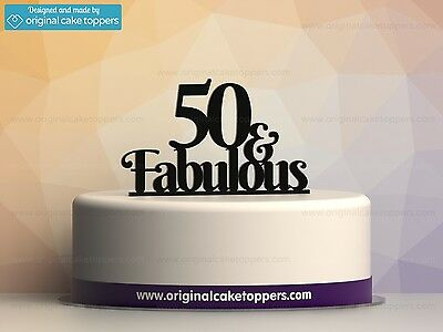 """50 & fabulous"" Black - 50th Birthday Cake Topper - Made by OriginalCakeToppers"