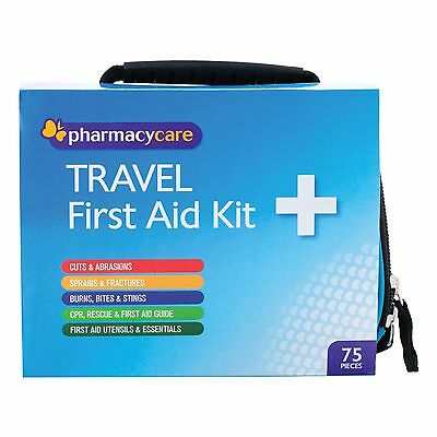 1 x Pharmacy Care TRAVEL First Aid Kit - 75 Pieces Cuts, Sprains, Burns and MORE