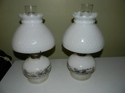 Vintage Currier And Ives Milk Glass Lanterns - Circa 1950