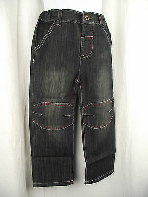 BNWT Boys Sz 1 Black Denim Urban Crusade Long Elastic Waist Straight Leg Jeans