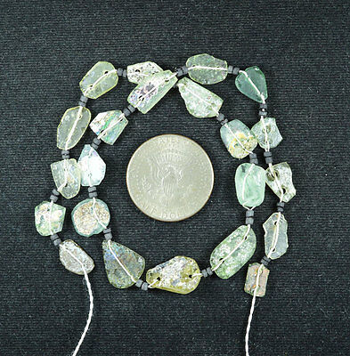 Ancient Roman Glass Beads 1 Medium Strand Aqua And Green 100 -200 Bc 476