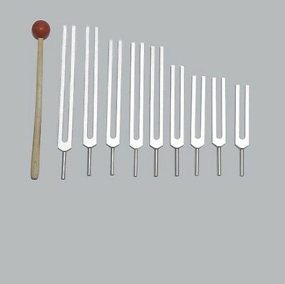 Professional 9 Sacred Solfeggio Tuning forks + Mallet