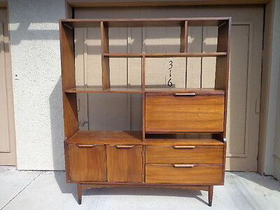 Desk MCM Wall Unit Mid Century Modern Vintage Danish Style Bookcase Room Divider