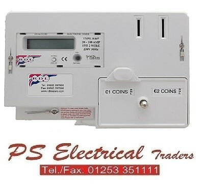 Rdl R447E Dual Coin Euro €1 & €2 Digital Prepayment Electric Timer Meter 100Amp