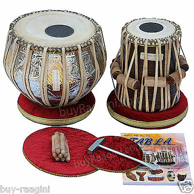 Tabla Set Maharaja™ Twin-Colored/brass Bayan 3Kg/sheesham Dayan/book/bag/fd