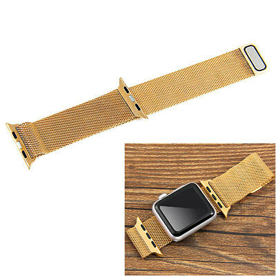 Gold Milanese Stainless Steel Watch Band Magnetic Loop for 42mm Apple iWatch