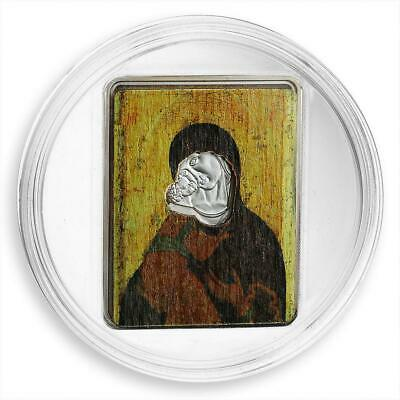 Cook Islands 5 dollars A. Rublev Theotokos of Vladimir Gilded Coloured Wood 2008