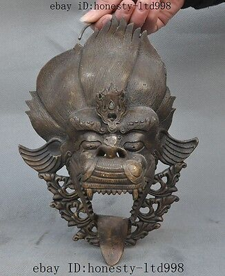 """10""""Old Chinese pure bronze copper Fengshui Evil spirits Dragon Head Statue Masks"""