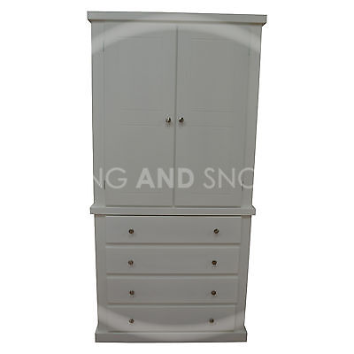 Handmade Dewsbury 4 Drawer Wardrobe White (Assembled)