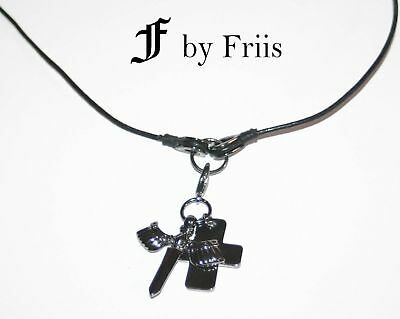 MÄNNER KETTE  by FRIIS *Lord Leather necklace black* Leder  - 2 Anhänger *Neu