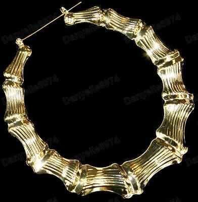 """GIANT 3.5"""" BIG GOLD PLATED BAMBOO hoops 9cm HOOP EARRINGS retro 80s LARGE ROUND"""