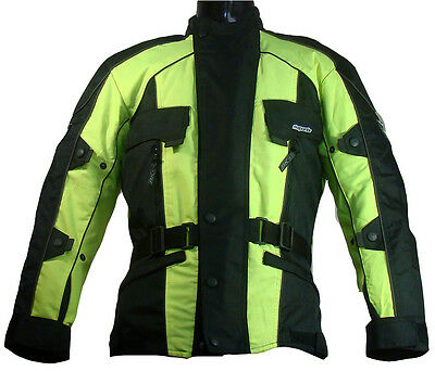 High Visibility CE Armoured MOTORBIKE Motorcycle Jacket ALL BIG sizeS AVAILABLE