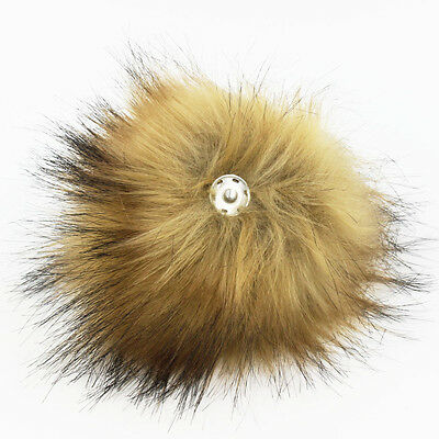1PC Fluffy 15CM Faux Raccoon Fur Pom pom Ball with Press Button Hat Accessories