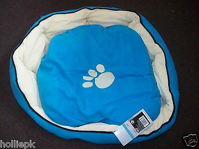 Blue Fleece Puppy Sml Dog Kitten Cat Bed Paw Print Washable Approx 18''