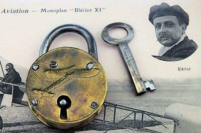 Antique c.1909 Brass Padlock Louis Bleriot XI Aeroplane Design - My Ref P351