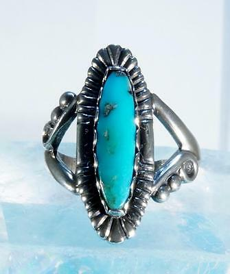 Vintage Sterling Silver Turquoise Ring Size 5.25