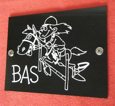 Horse Pony Stable name Plaque Plate Sign Mad Hoss W+B