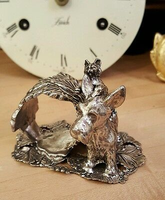 Victorian Silver Napkin Ring Cat & Dog West Highland Cairn Scottish Terrier